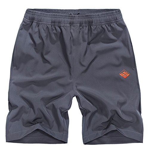 (EXEKE Outdoor Men's Quick Dry Shorts Lightweight Hiking Shorts 252-Gray/tag:2XL )