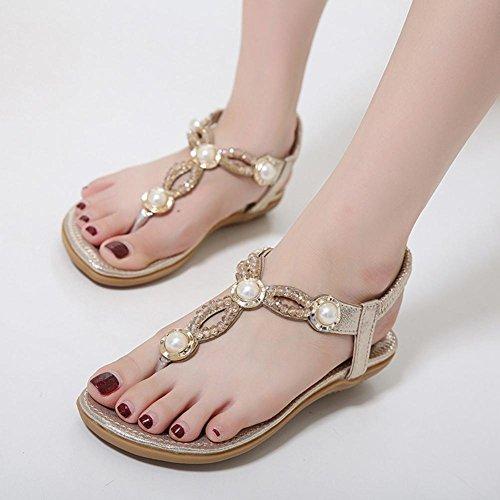 Frauensandelholzen Diamantperle Perlen flache Schuhe Größe Frauen Sandalen Gold
