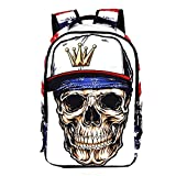 DOLIROX Cool Boys Girls School Backpack 3D Skeleton Skull Schoolbag Unisex Travel Camping Casual Daypacks Rucksack Bookbag Anime Shoulder Bag Laptop Bag for Teens (White)