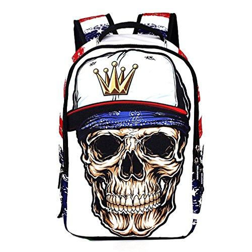 DOLIROX Cool Boys Girls School Backpack 3D Skeleton Skull Schoolbag Unisex Travel Camping Casual Daypacks Rucksack Bookbag Anime Shoulder Bag Laptop Bag for Teens (White) by DOLIROX