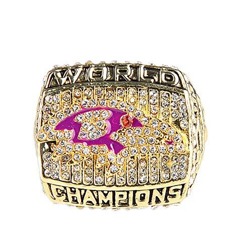 Baltimore Ravens 2000 Super Bowl - Gloral HIF Baltimore Ravens Championship Ring Super Bowl XXXV 2000 Ring Replica Ray Lewis Gold with Display Box