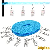 Clothesline with 20 Pins, Portable Travel Clothesline Adjustable Windproof Clothesline Stainless Wire Pin, Clothes Metal Clips for Laundry Drying Outdoor and Indoor Use, Art Display with Portable Bag
