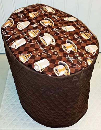 Coffee Theme Food Processor Cover (Chocolate Brown, Large)