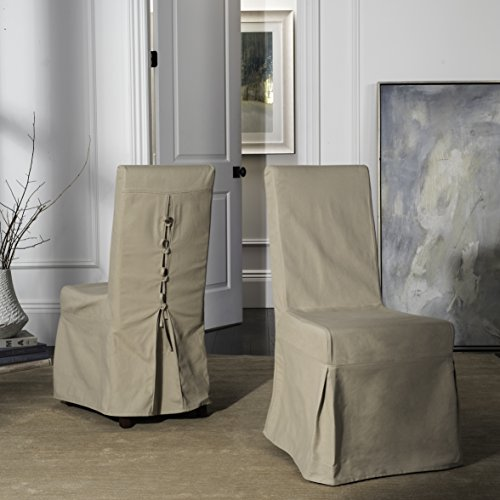 Safavieh Mercer Collection Nimes Slipcover for Side Chairs, Taupe, Set of 2 (Dining Slipcovered Chairs)
