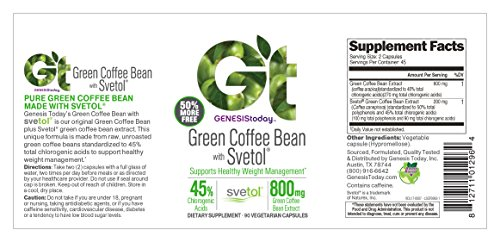 Genesis Today, Green Coffee Bean with Svetol 800mg, 90 Count by Genesis Today (Image #1)