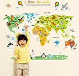 BIBITIME Kids Educational Animal World Map Stickers Child Wall Decal Nursery Sticker with Animals Zoo Park Home Decor for Living Room,43.31 34.65 IN