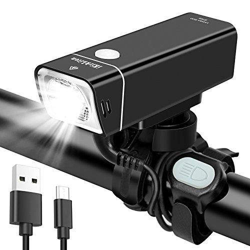 iKirkLiten Urban 600 Lumens USB Rechargeable Bike Headlight, Aluminum Alloy Front Bike Light with Wired Remote Button, 5 Lighting Modes, IPX6 Waterproof [Black] For Sale