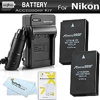 2 Pack Battery And Charger Kit For NIKON DL24-500, Nikon 1 V3, Nikon 1 AW1, Nikon 1 J1, Nikon 1 J2 Digital Camera and Blackmagic Pocket Cinema Camera Includes 2 Replacement Batteries For Nikon EN-EL20, EN-E20A + Ac/Dc Charger +