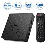 Android Tv Box, Android 7.1 2GB RAM 16GB ROM Amlogic S905W 4K Quad Core A53 Processor 64 Bits Support WiFi/H.265/HDMI2.0 Output/LAN/USB with Remote Android Box HK1