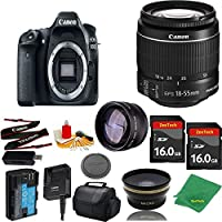 Great Value Bundle for 80D DSLR – 18-55mm STM + 2PCS 16GB Memory + Wide Angle + Telephoto Lens + Case