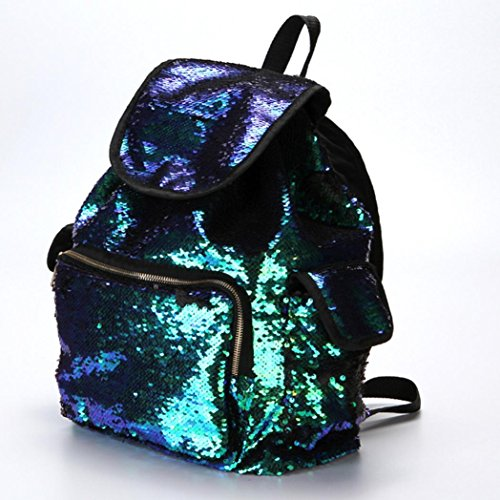 Fashion Girls Sports Color FashionDouble Green Backpack Bag Cute Sequin Women Backpack Shining Bling Drawstring Bag Mermaid Soft Bag Backpack Casual School LILICAT Bag S5OAqwq