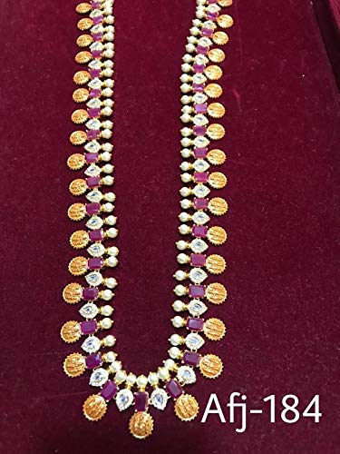 Buy Ramparivar Purple Brass Matt Finish Long Jewellery Sets For Women At Amazon In