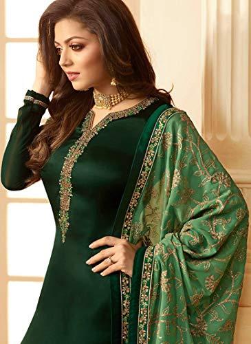 stylishfashion Indian/Pakistani Ethnic wear Georgette Salwar Kameez Embroidery Salwar Dress Ready to Wear Suit (Green, CHEST-44 WEST-40 HIPS-46)