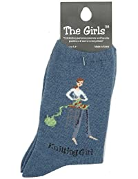 K Bell Prima Marketing The Girls Socks, Knitting Girl-Denim