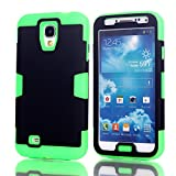 Galaxy S4 Case, LUOLNH 3-piece 3 in 1 Combo Hybrid Defender High Impact Body Armor Hard PC & silicone Case Protective Cover for Samsung Galaxy S4(Black/Green)