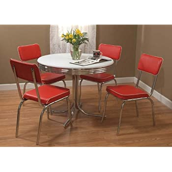 High Quality Target Marketing Systems 5 Piece Retro Dining Set With 4 Dining Chairs And  1 Round Dining