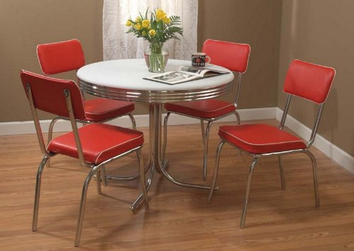 Target Marketing Systems 5 Piece Retro Dining Set with 4 Dining Chairs and 1 Round Dining Table, Red (Sets Dinette Retro)