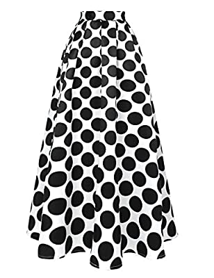 Hotouch Women's Polka Dot Printed Maxi Skirt With Pockets High Waist