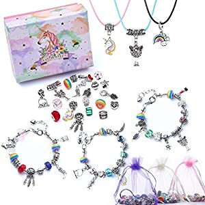 Best Epic Trends 51EB2qRTUkL._SS300_ DIY Charm Bracelet Making Kit for Girls, Jewelry Making Suppliers Beads and Charm Set for Art and Craft Birthday Easter…