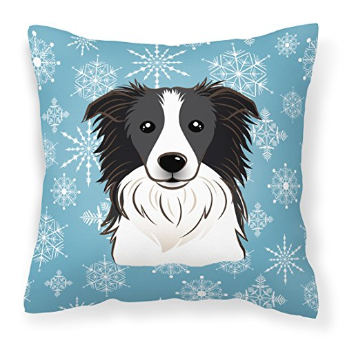 Caroline's Treasures BB1675PW1414 Snowflake Border Collie Fabric Decorative Pillow, Large, ()