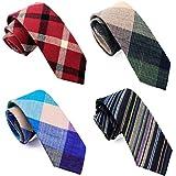 casual skinny neckties for men cotton plaid/floral slim tie tg-005
