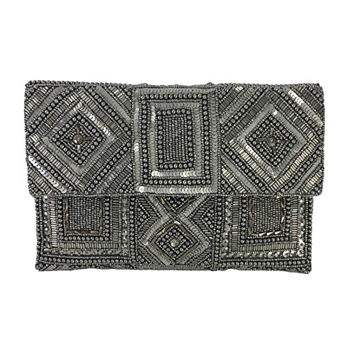 From St Xavier Mercury Beaded Clutch Evening Bag, Antique Silver