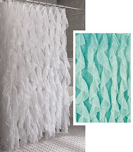 (Home Bargains Plus Cascade Shabby Chic Ruffled Sheer Shower Curtain (Sea))