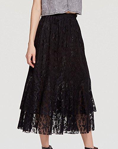 Jupe avec Boheme lastique Femme Ceinture Dcouvert Flare Femme Grande Longue Taille Noir Longue Jupe Ete Jupe Longue Plisse f81Xq8R