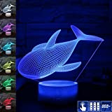 Gift Ideas Blue Whale Night Lights 3D Illusion Lamp Animal Light Led Desk Lamps Anniversary Gifts for Baby Home Decor Office Bedroom Party Decorations Nursery Lighting 7 Color Crackle Paint Base