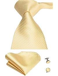 Gold Woven Silk Necktie Tie Pocket Square Cufflinks set For Men