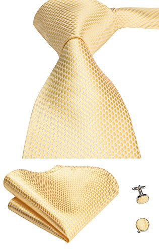 Hi-Tie Men Classic Gold Grid Solid Tie Necktie with Cufflinks and Pocket Square Tie Set
