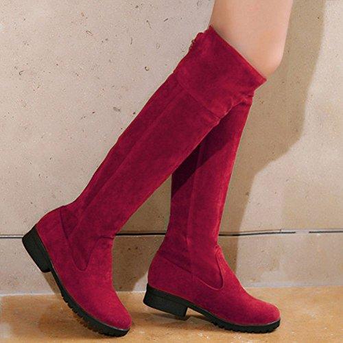 a Femmes Enfiler Red Longue Bottes RAZAMAZA YwFtF