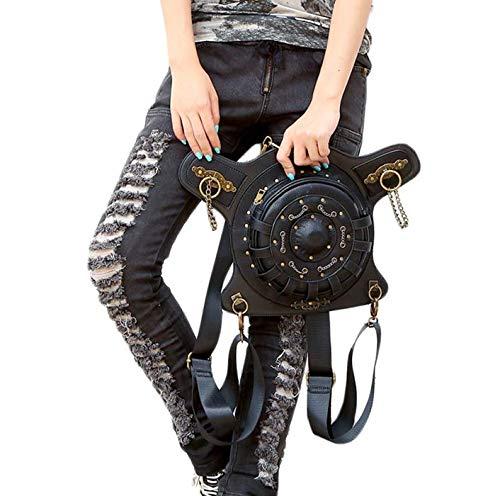 diseño para Color Bolsillos Negro única Talla ping Redondos Black1 negro Mujer Retro Qiu qX4Rnt