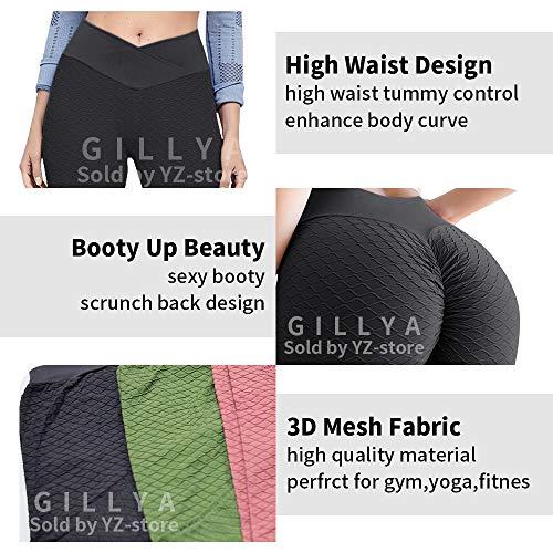 GILLYA Butt Lift Yoga Pants Ruched Butt Leggings Butt Lift Textured High Waisted Booty Lifting Anti-Cellulite Leggings 3