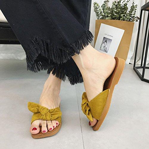 des antidérapantes à souple sandales jaune décontracté des pantoufles Bow et mot fond femmes pantoufles Confort DHGH R8awqxOUw