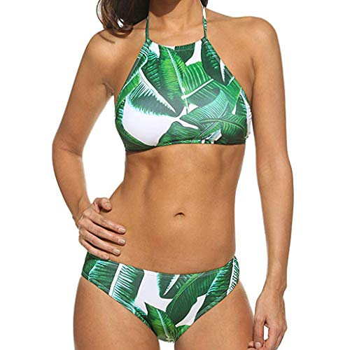 UIFIDI Women Print Sexy Woman's Erotic Lingerie Tube up Two Pieces Bikini Push-Up Swimsuit Swimwear Beachwear Army Green -