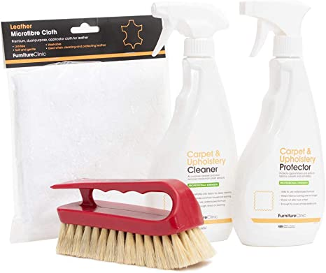 Furniture Clinic Fabric Care Kit Includes 500ml Cleaner 50ml Protector Microfibre Cloth Cleaning Brush For Use On Clothing Carpet Upholstery Works On All Fabric Types Amazon Co Uk Health Personal