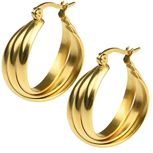 (18k Yellow Gold Plated Stainless Steel Polished Shiny Tri Color Round Twist Hoop Earrings for Women (Gold))
