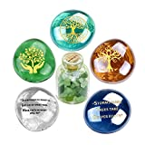 Best Amulets Collection. Perfect to Share with Someone you Care about, as Unique Gift Idea or get it for your Self as pocket totems. Set of 5 Engraved and Colorful Glass Stones with Inspirational Symbols and 1 Gemstone Bottle. Size: Each Glas...