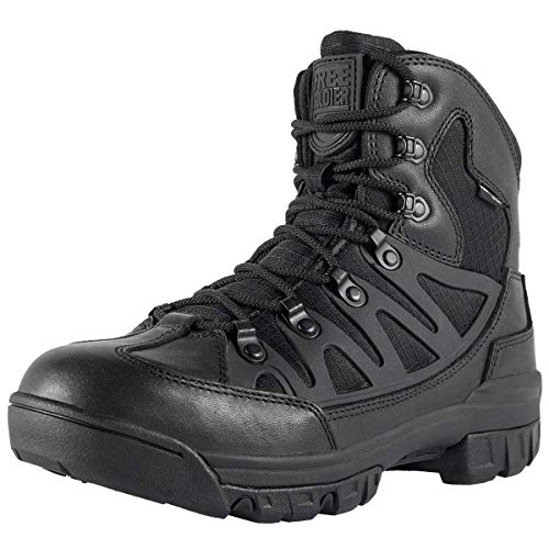 FREE SOLDIER Men's Outdoor Military Tactical Ankle Boots Ultra Combat Mid Hiking Boot(Black + Full Grain Leather, 11.5 US)