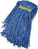 AmazonBasics Cut-End Cotton Mop Head, 1.25-Inch Headband, Large, Blue - 6-Pack