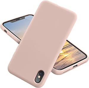 MCUCA iPhone X Case/iPhone Xs case Liquid Silicone Gel Rubber Bumper Case,Ultra-Thin Soft Microfiber Lined Full Body Protective Case Cover for Apple iPhone X/iPhone Xs (Pink)
