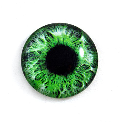 (25mm Single Intense Green Human Fantasy Glass Eye for Taxidermy Sculptures or Jewelry Making Crafts)