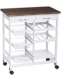 Merax 29 Portable Storage Island Kitchen Trolley Cart With 2 Drawers White
