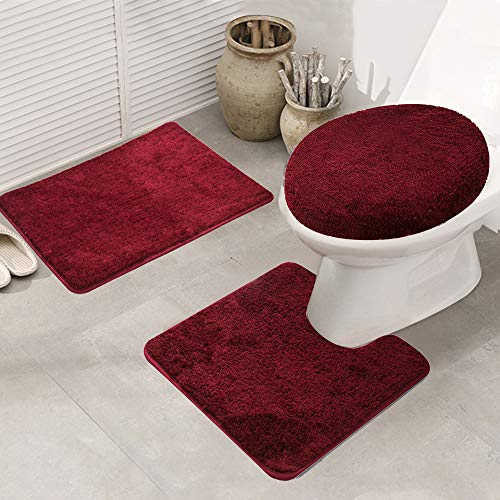 Bathroom Rug Set 3 Pieces Shaggy Soft Non-Slip Mats Solid Color Rectangular Area Rug, U-Shaped Bath Mat, Elongated Toilet Lid Cover (Wine Red)
