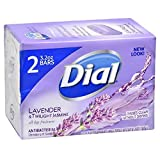 Dial Antibacterial Deodorant Soap, Lavender & Twilight Jasmine, Rinses Clean without Drying, 2-3.2 oz bars