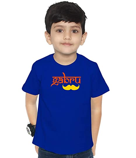 1cfc023b9 Swaggy Kids Gabru Printed Unisex s Funny Slogan Cotton Kids T-Shirt for  Boys   Girls  Amazon.in  Clothing   Accessories