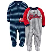 Simple Joys by Carter's Boys' 2-Pack Cotton Footed Sleep and Play, All Star/Fire Truck, 0-3 Months