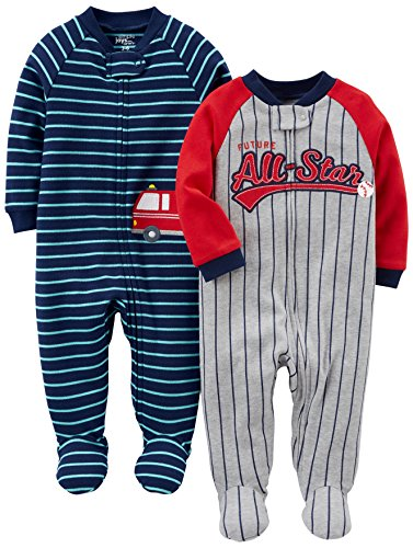 (Simple Joys by Carter's Baby Boys' 2-Pack Cotton Footed Sleep and Play, All Star/Fire Truck, 0-3 Months)