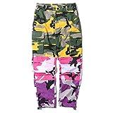 LOG SWIT Men's Camo Patchwork Cargo Pants Hip Hop Camouflage Trousers Streetwear Joggers Sweatpants Yellow L